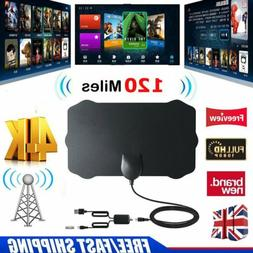 120miles Thin Freeview Indoor 4K Digital HDTV Antenna TV Aer