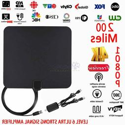 200 Miles Range Flat HD Digital Indoor Amplified TV Antenna