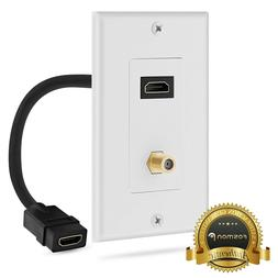 4K HDMI Wall Plate, Fosmon 1-Port HDMI Cable Cord with Ether