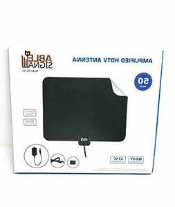 Able Signal 50 Miles Amplified Indoor HDTV Antenna Thin Flat