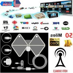 50 Miles Clear Indoor Digital TV Antenna Amplified Full HD 1
