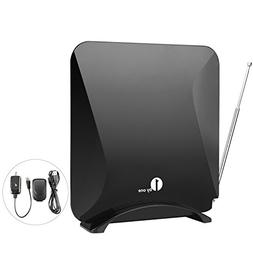 1byone Amplified Indoor HDTV Antenna for UHF/VHF/FM with Sta