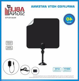 AMPLIFIED INDOOR THIN FLAT HDTV TV ANTENNA 40 MILES 5dB GAIN