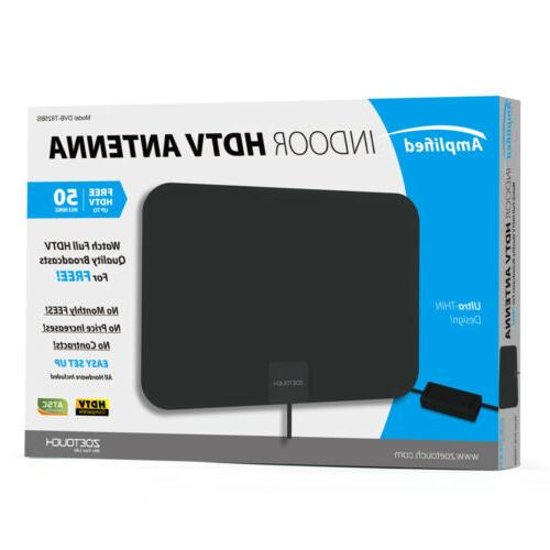 1byone Digital Amplified Indoor HD TV Antenna Up to 50Miles