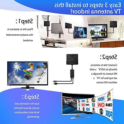 2019 Newest Range HDTV TV Antenna Indoor Amplified HD Free Channels with Antenna Signal 1080P Long - High Reception