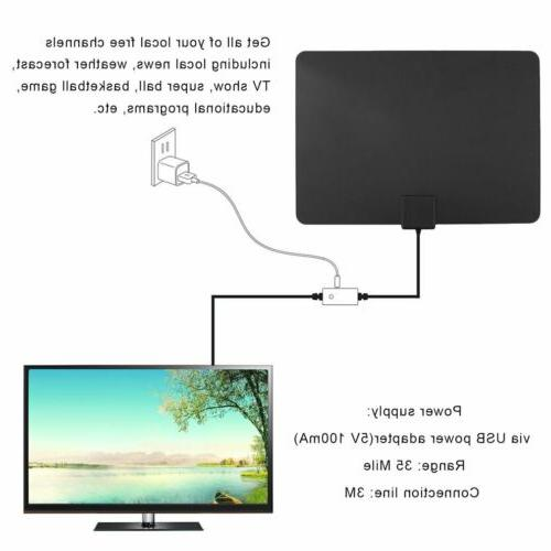 25/35/50/150 Thin Indoor Amplified TV Antenna 10FT New MA