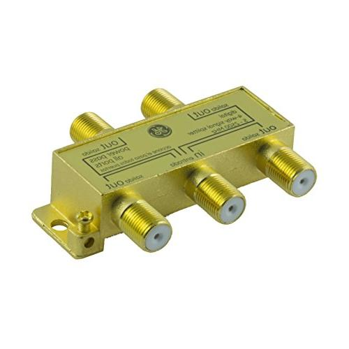 Coaxial Splitter, Works HDTV, Amplified Antennas, RG6 MHZ Range, Resistant, Gold Connectors,
