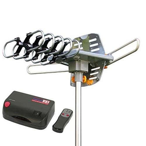 Amplified HDTV Antenna Miles Long Range with Motorized 360 Radio with Control