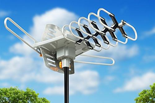 Amplified HD HDTV Antenna 150 Long Motorized 360 Degree Rotation, Radio with Control
