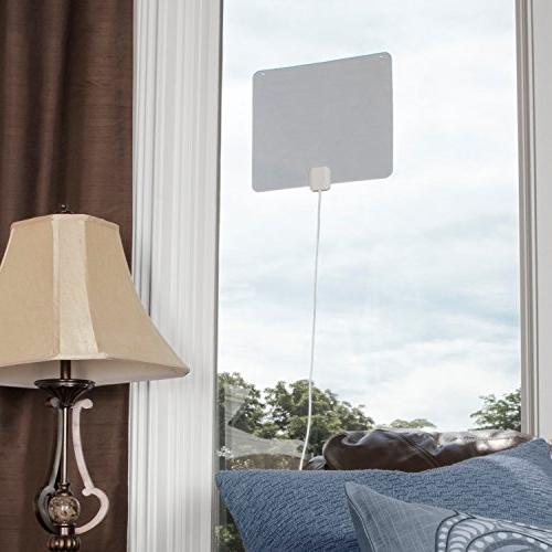 RCA Indoor Amplified Antenna HD - Thin Reversible Multi-Directional and UHF Reception and 65 Black