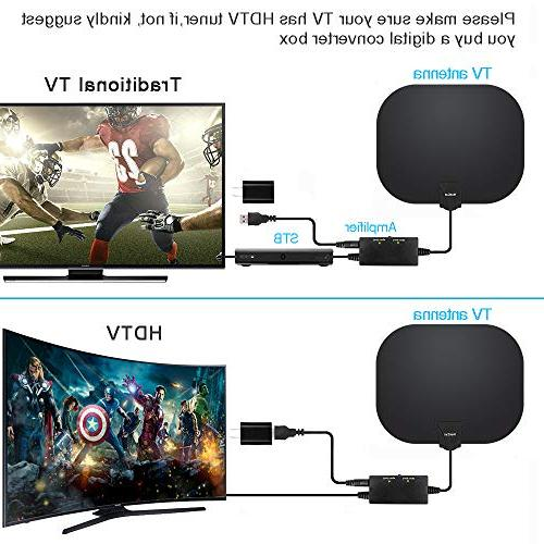 HDTV Antenna Long Range Digital Antenna with Amplifier Power Supply Feet Cable
