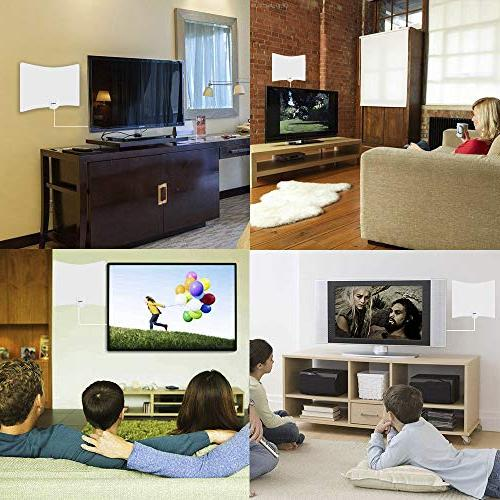 TV HDTV Indoor Digital Antennas 130 with Signal Booster Free Channels 1080P VHF All TV's - 16.5ft Cable