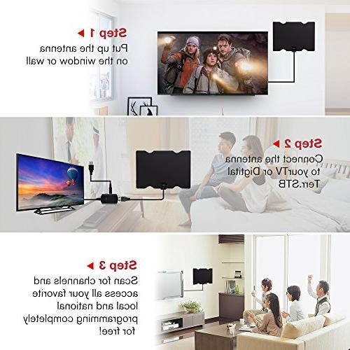 100 Miles TV 2019 HDTV High Definition, Antennas Indoor Booster for Local Channels Long Coax