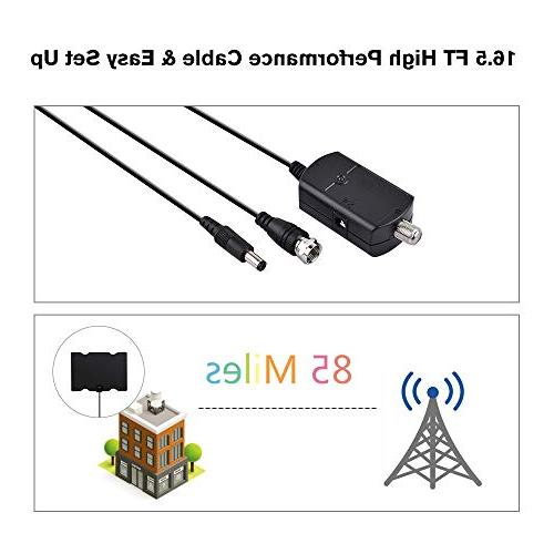 100 TV Antenna, 2019 High Antennas Indoor Amplified Booster for Freeview Local Channels 4K Long Cable-High