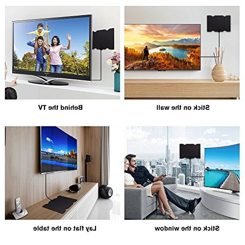 100 Antenna, 2019 NEWEST HDTV High Definition, Antennas Amplified Channels 4K 1080P, 16.5ft Long Coax Cable-High Reception