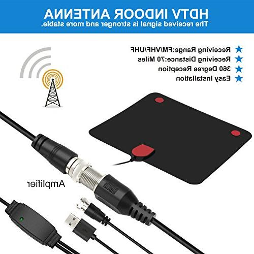 TV Digital HD Indoor Antenna Mile Range 4K HD Freeview Channels & Detachable Amplifier and Coax Cable