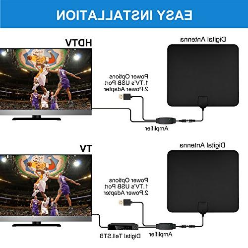 TV Digital HD Antenna 50-80 Mile Range 4K HD Channels and ft Cable