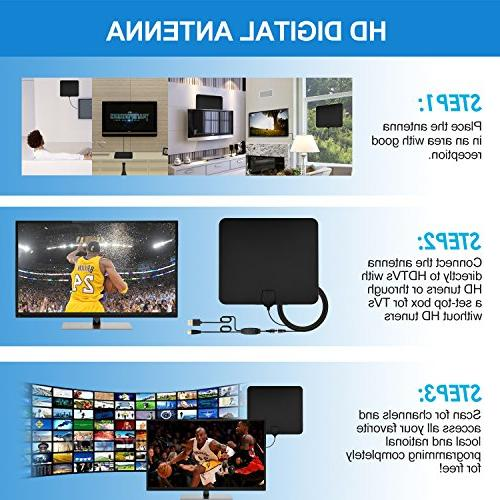TV Upgrade Digital Indoor Antenna 50-80 Mile 4K Freeview Channels & Detachable Amplifier and Cable