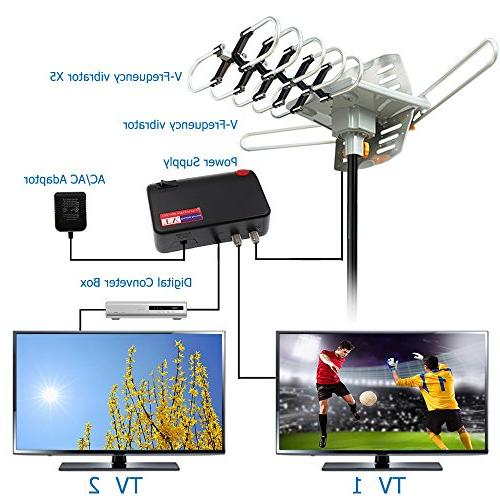 Vansky Motorized 360 Rotation OTA Amplified Antenna for 2 Support UHF/VHF/1080P Channels Wireless Control 32.8' Coax