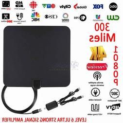 Long Range HDTV Indoor Flat Antenna Amplified VHF UHF Digita