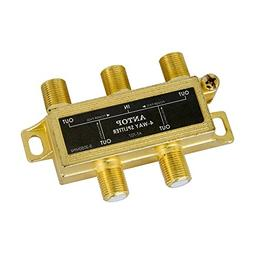 ANTOP Low-loss 4 Way Coaxial Splitter for TV Antenna and Sat