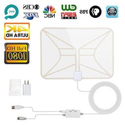 TV Antenna White, Indoor Digital HDTV Antenna 4K 1080P 60-80