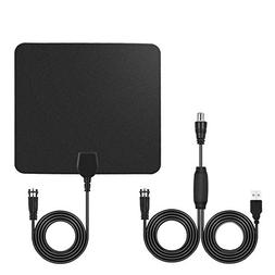 Ultra-Thin 6mm 1080P HDTV Antenna with Detachable Signal Amp